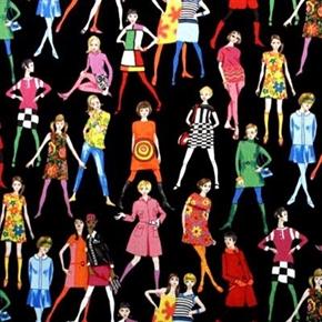 60S Fashion Models Retro Mod Girls On Black Cotton Fabric