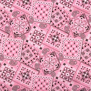 Blazin Bandanas Light Pink Bandana Pattern Cotton Fabric