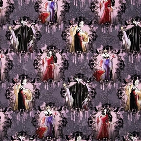 Disney Female Villains Portraits On Pink And Gray Cotton Fabric