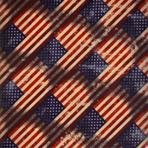 Made In The Usa Patriotic Diagonal American Flags Cotton Fabric