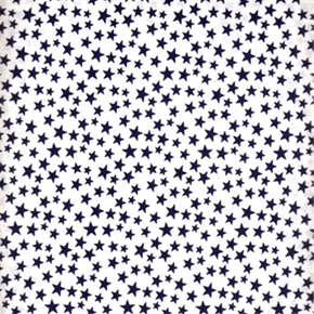 Made In The Usa Patriotic Navy Blue Stars On White Cotton Fabric