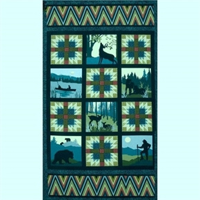 Mountain Majesty Outdoor Adventure 24X44 Large Quilt Fabric Panel