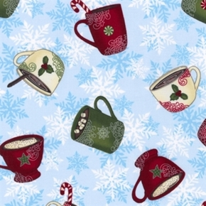 Picture of Cheers Winter Hot Cocoa Holiday Mugs on Blue Snowflakes Cotton Fabric