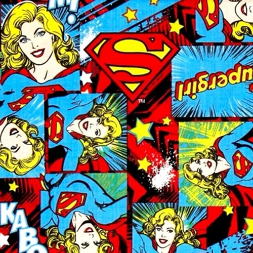 Girl Power Ii Supergirl In Squares Dc Comics Cotton Fabric