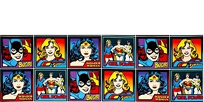 Girl Power Ii Female Superhero Squares Dc Comics 12X44 Strip Fabric