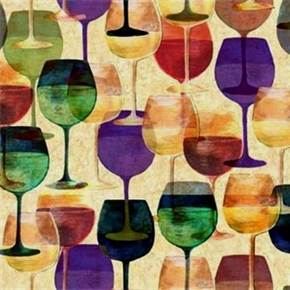 Picture of Maradda Vineyards Wine Glasses Purple, Teal, Red, Gold Cotton Fabric