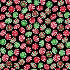 Picture of Holiday Munchies Peppermints Red Green with Sparkles Cotton Fabric