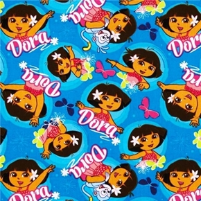 Picture of Dancing Dora the Explorer Dora and Monkey Dance on Aqua Cotton Fabric