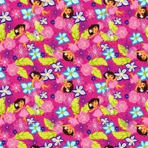 Hawaiian Dora The Explorer Prancing Flowers Nickelodeon Cotton Fabric