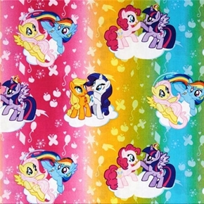 My Little Pony Ombre Toss Characters On Rainbow Colors Cotton Fabric