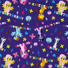My Little Pony Ponies And Names On Purple Cotton Fabric