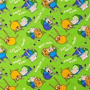 Adventure Time Finn And Jake Bro Hug Green Cotton Fabric
