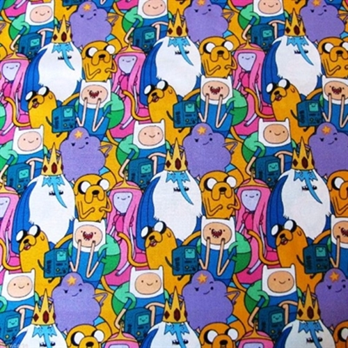 Cotton Fabric - Character Fabric - Adventure Time Packed Characters Finn, Jake and Friends
