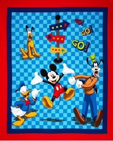 Picture of Disney Mickey Friends on the Go Large Cotton Fabric Panel