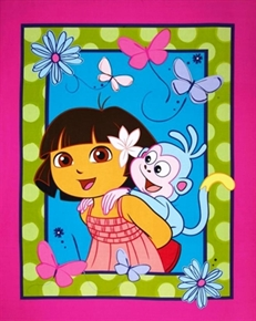 Dora The Explorer And Boots Pink Large Cotton Fabric Panel