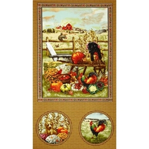 Autumn Bounty Fall Puppy And Roosters 24X44 Large Cotton Fabric Panel