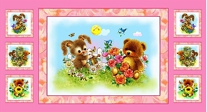Best Friends Bunny And Teddy Bear Spring 24X44 Large Fabric Panel