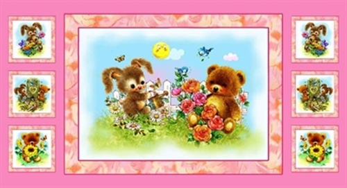Cotton Panel Fabric Best Friends Bunny And Teddy Bear Spring 24x44