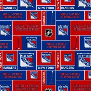 Nhl Hockey New York Rangers Red And Blue Squares Cotton Fabric