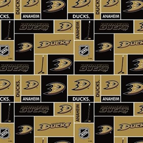 Nhl Hockey Anaheim Ducks Black And Gold Squares Cotton Fabric