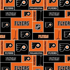 Nhl Hockey Philadelphia Flyers Black And Orange Squares Cotton Fabric