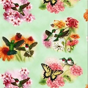 Picture of Hummingbirds Beautiful Green Birds Butterflies Sage Cotton Fabric