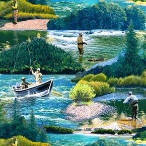 Top Rod Fishermen Fly Fishing On Lake In The Woods Cotton Fabric