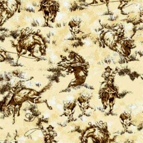 Cowboys Cows And Horses Lasso Bucking Bronco In Browns Cotton Fabric