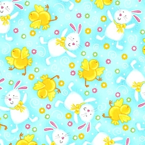 a Joyful Easter Playful Bunnies And Chicks On Blue Cotton Fabric