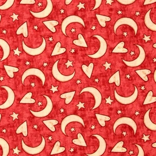 Expressions Of Faith Stars Moon And Hearts On Coral Cotton Fabric