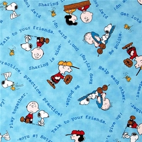 Picture of Tips From The Gang Peanuts Advice Sharing is Nice Blue Cotton Fabric