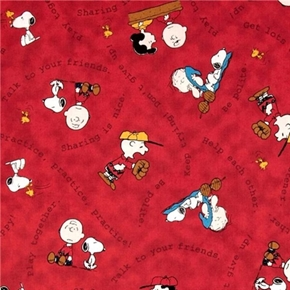 Picture of Tips From The Gang Peanuts Advice Sharing is Nice Red Cotton Fabric