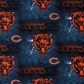 Nfl Football Chicago Bears On Marbled Blue 18X29 Cotton Fabric