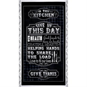 Give Us This Day Give Thanks Kitchen 24X44 Large Cotton Fabric Panel