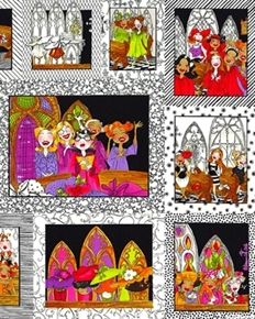 Church Ladies Woman In Church Picture Patch 24X44 Large Fabric Panel