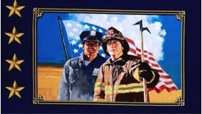 Picture of American Heroes Police & Firefighter 12x22 Cotton Fabric Pillow Panel