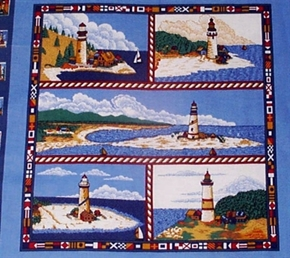 Beacons Of Light Nautical Lighthouses Cotton Fabric Pillow Panel
