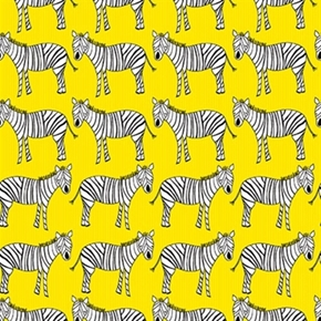 Zaza Zoo White Zebras In Rows On Yellow Cotton Fabric
