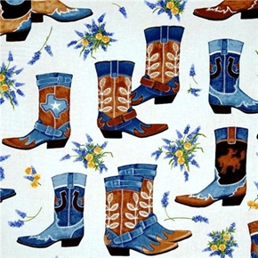 Picture of Greetings From Texas Large Denim Cowboy Boots Flowers Cotton Fabric