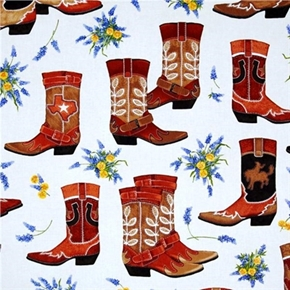 Greetings From Texas Large Leather Cowboy Boots Flowers Cotton Fabric