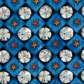 Picture of Sand Dollar Diamonds Shells and Starfish Blue Squares Cotton Fabric