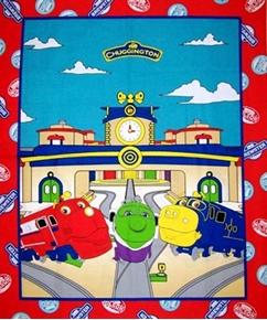 Chuggington Traintastic Cartoon Trains Large Cotton Fabric Panel