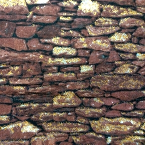Picture of Elements Dark Brown Rock Wall with Gold Glitter Cotton Fabric