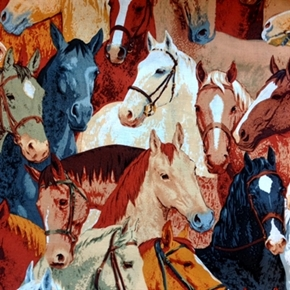 Horseshoe Bend Horse Head Collage Cotton Fabric