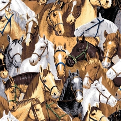 Point Of View Packed Horses Brown Horse Heads Cotton Fabric