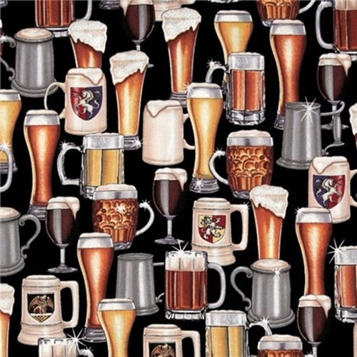 man of the house frothy beer mugs and glasses cotton fabric