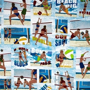 Sun, Surf and Sand Beach Volleyball Scenes Cotton Fabric