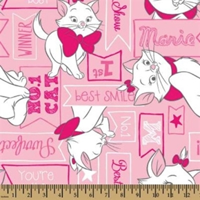 Disney Aristocats Marie Signs Best in Show Pink Cotton Fabric