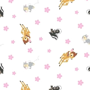 Disney Bambi Woodland Dreams Character Toss on White Cotton Fabric