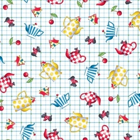 Tea Time Mary Engelbreit Tossed Teapots on Plaid Cotton Fabric